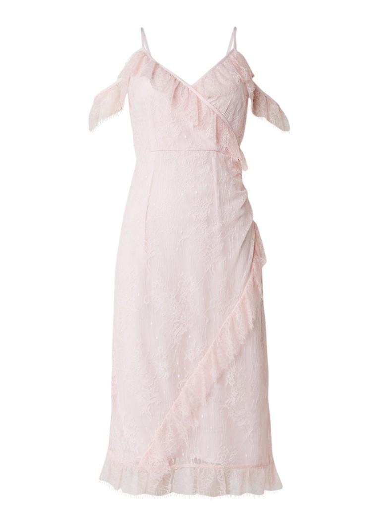 Warehouse Eyelash cold shoulder jurk van kant lichtroze