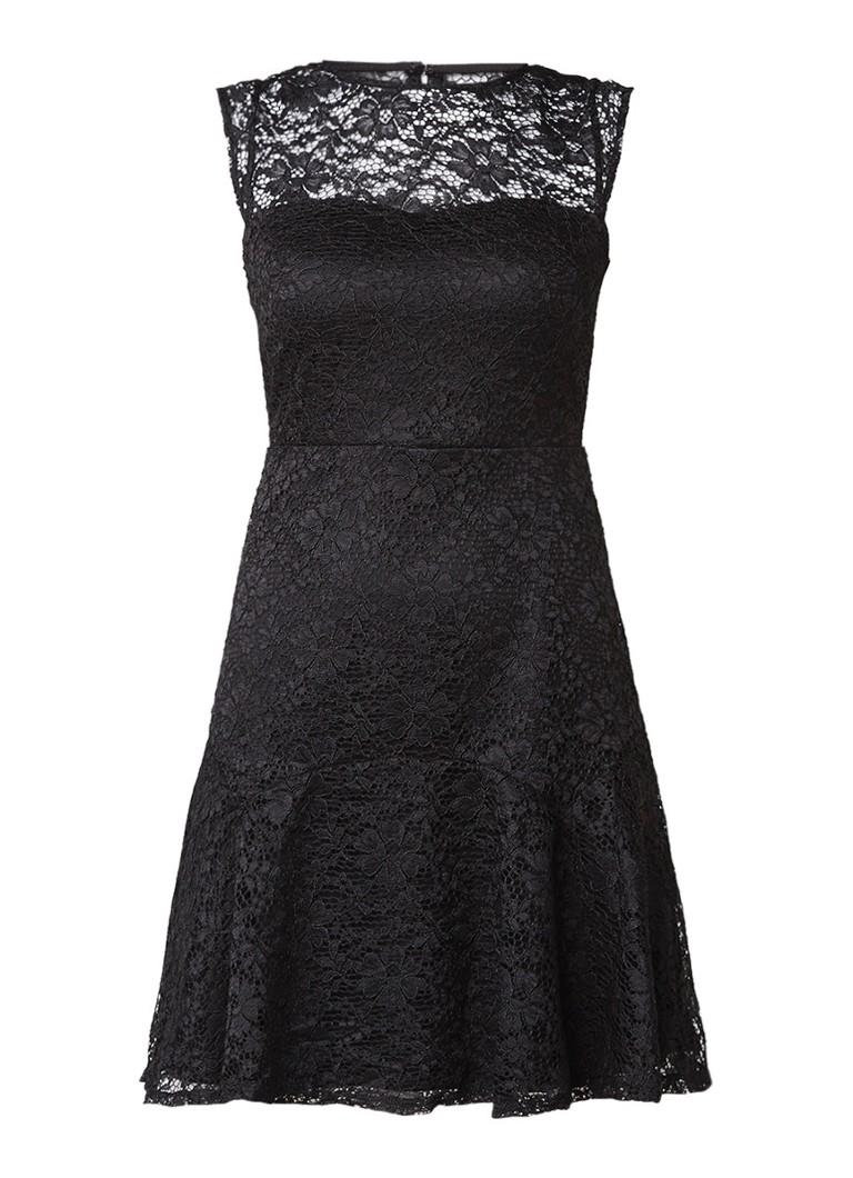 Warehouse Korte A-lijn jurk van gebloemd kant zwart