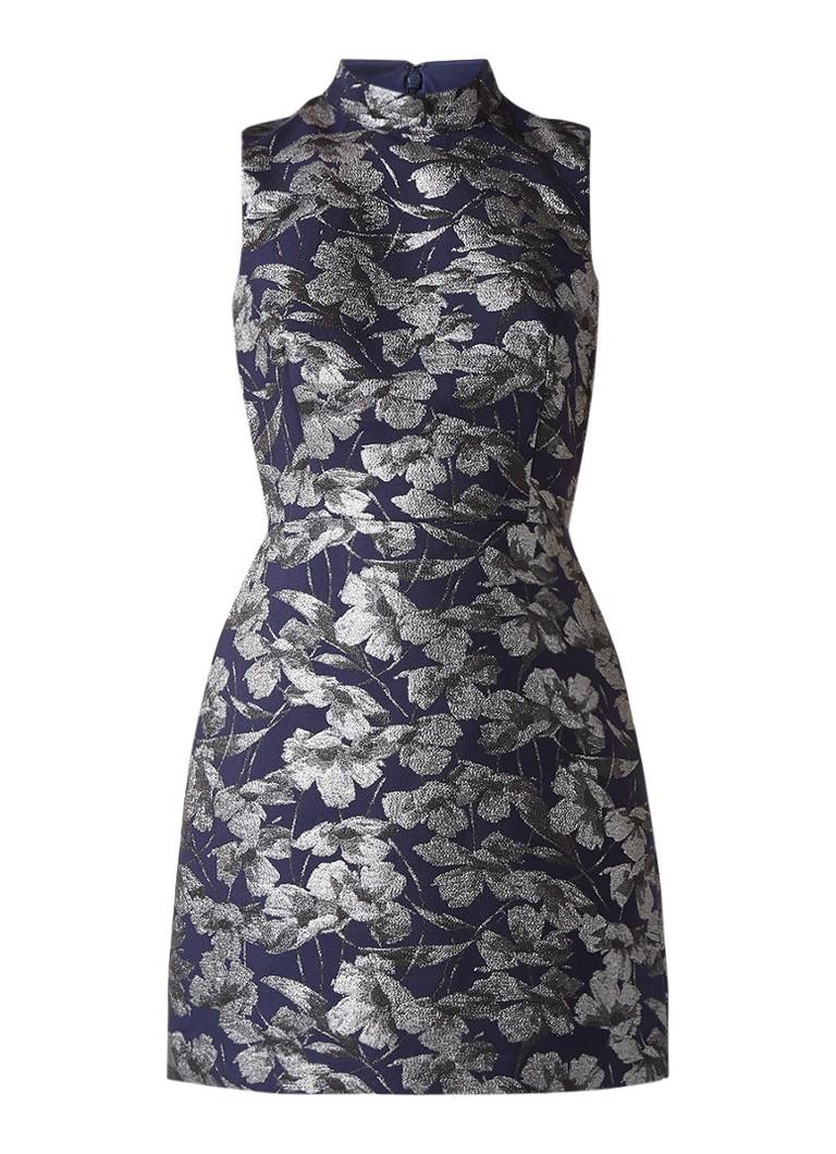 Warehouse A-lijn jurk met jacquarddessin donkerblauw