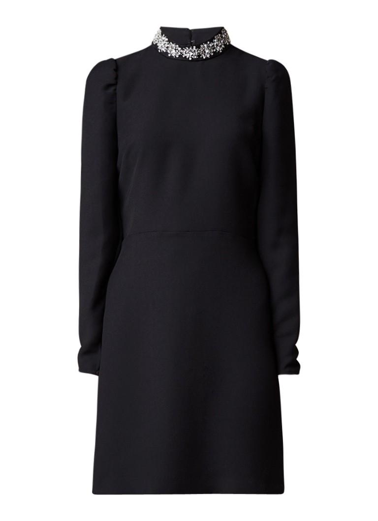 Warehouse A-lijn jurk met strass col diepzwart