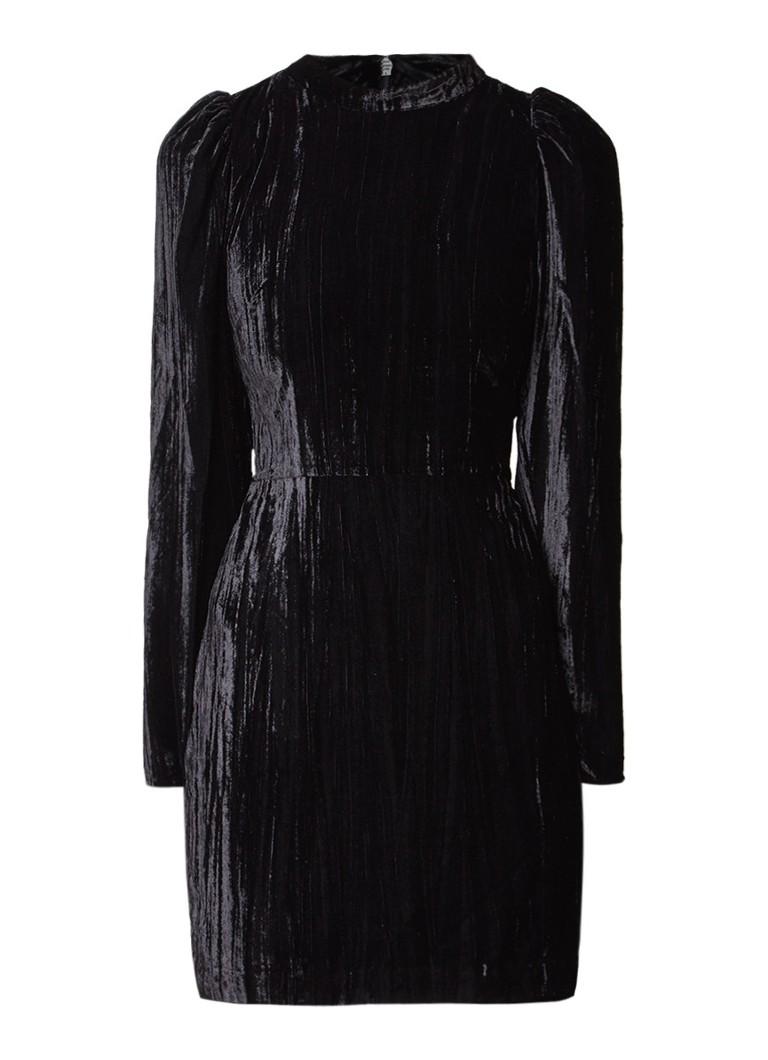 Warehouse Mini-jurk van fluweel met pofmouw diepzwart