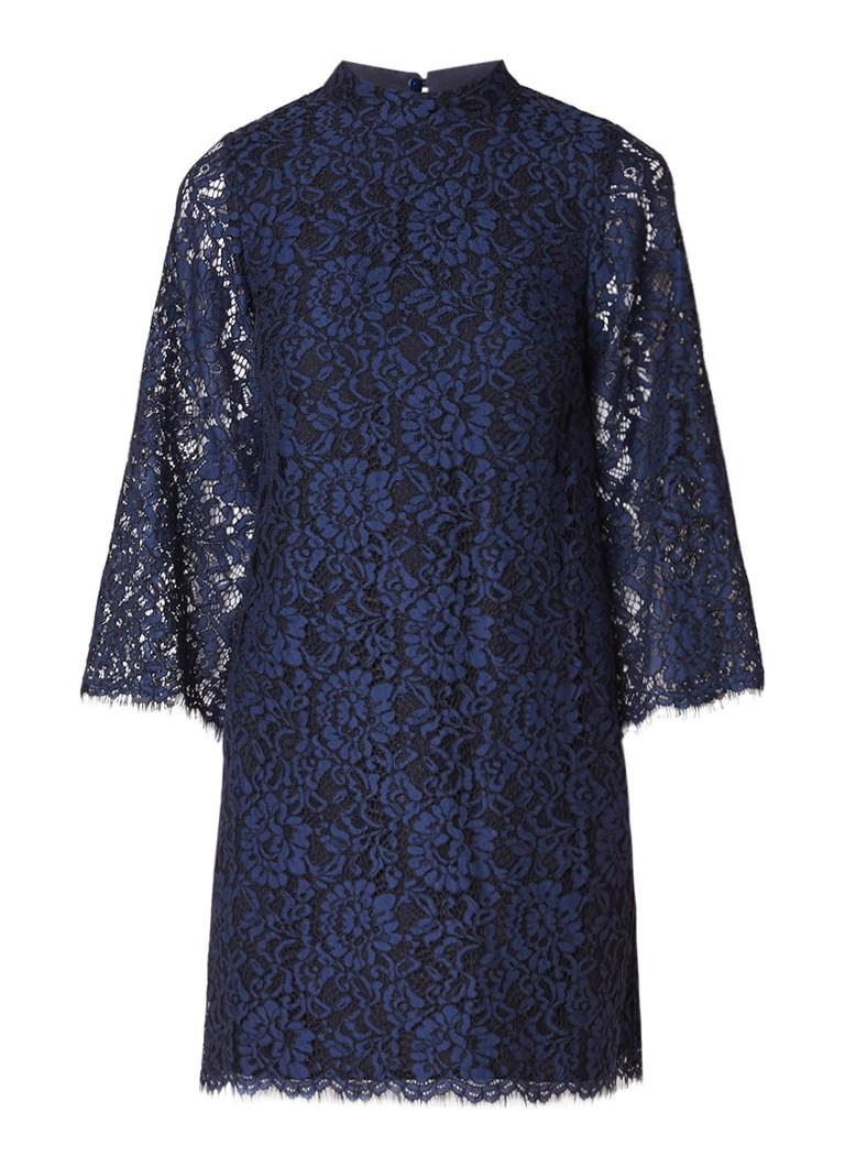 Warehouse Mini A-lijn jurk van kant met driekwartsmouw donkerblauw