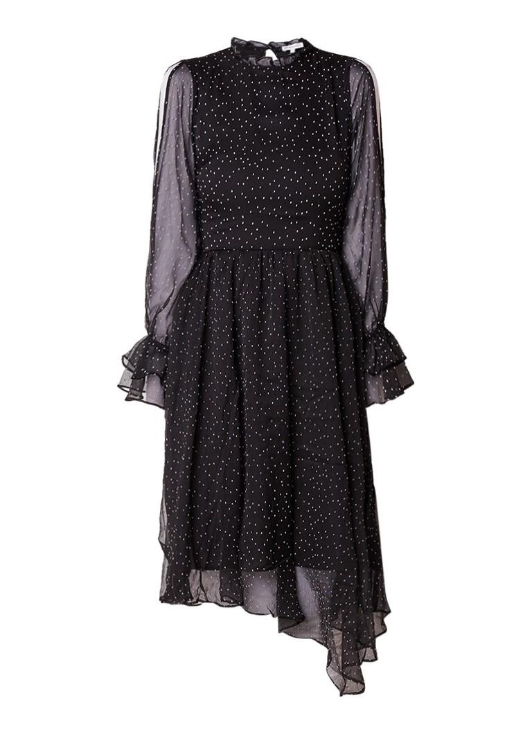 Warehouse Cold shoulder midi-jurk met stipdessin en ruches zwart
