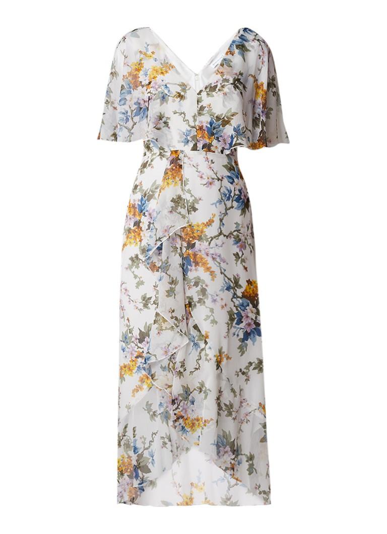 Warehouse Trailing jurk van crêpe met bloemendessin wit