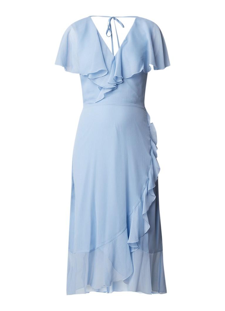 Warehouse Midi-jurk van crêpe met ruches lichtblauw