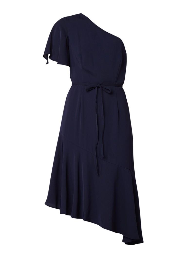 Warehouse One shoulder A-lijn jurk met volant donkerblauw