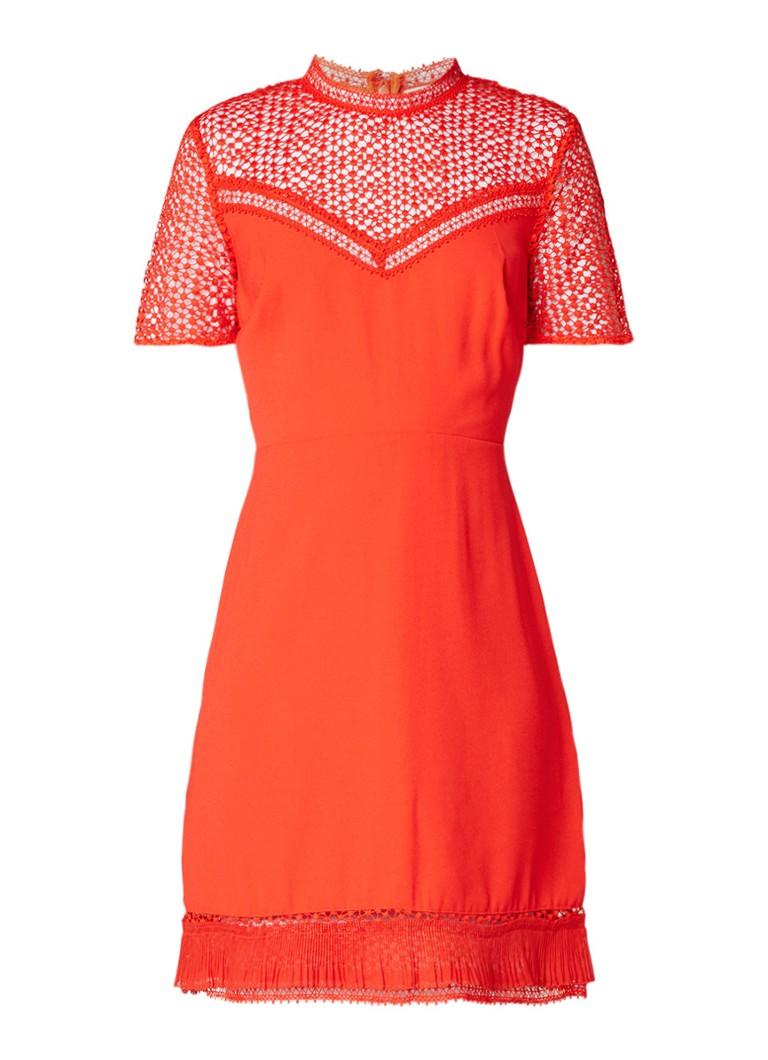 Warehouse Midi-jurk van crêpe met inzet van kant rood