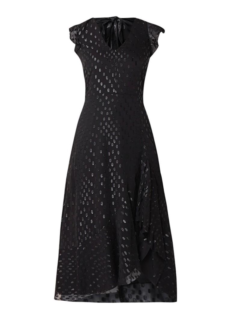 Warehouse Maxi-jurk met ingeweven dessin en glansdraad zwart