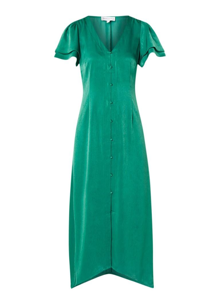 Warehouse Maxi blouse-jurk van satijn met volantmouw felgroen