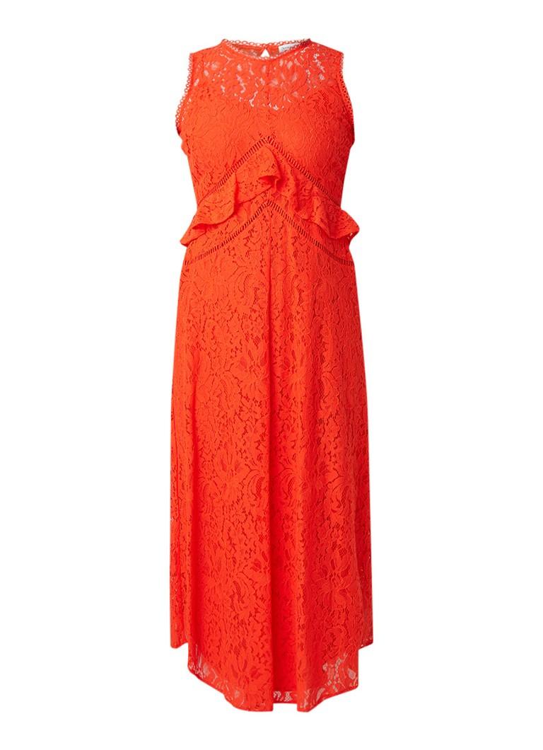 Warehouse Maxi-jurk van kant met volants oranje