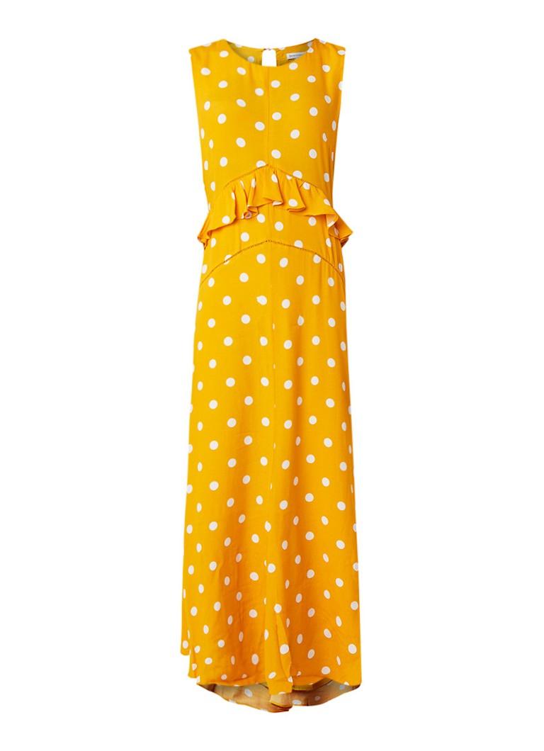 Warehouse Mouwloze maxi-jurk met stippendessin en volant okergeel