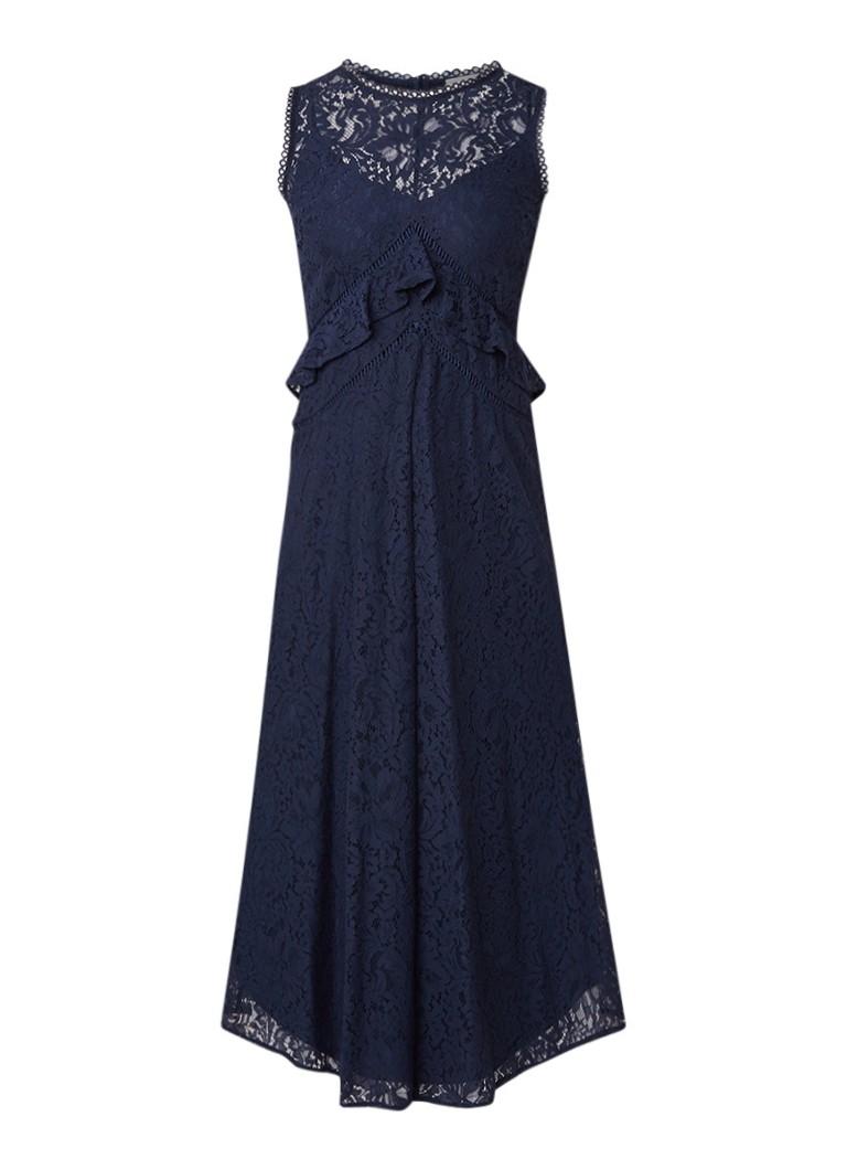 Warehouse Maxi-jurk van kant met volants donkerblauw