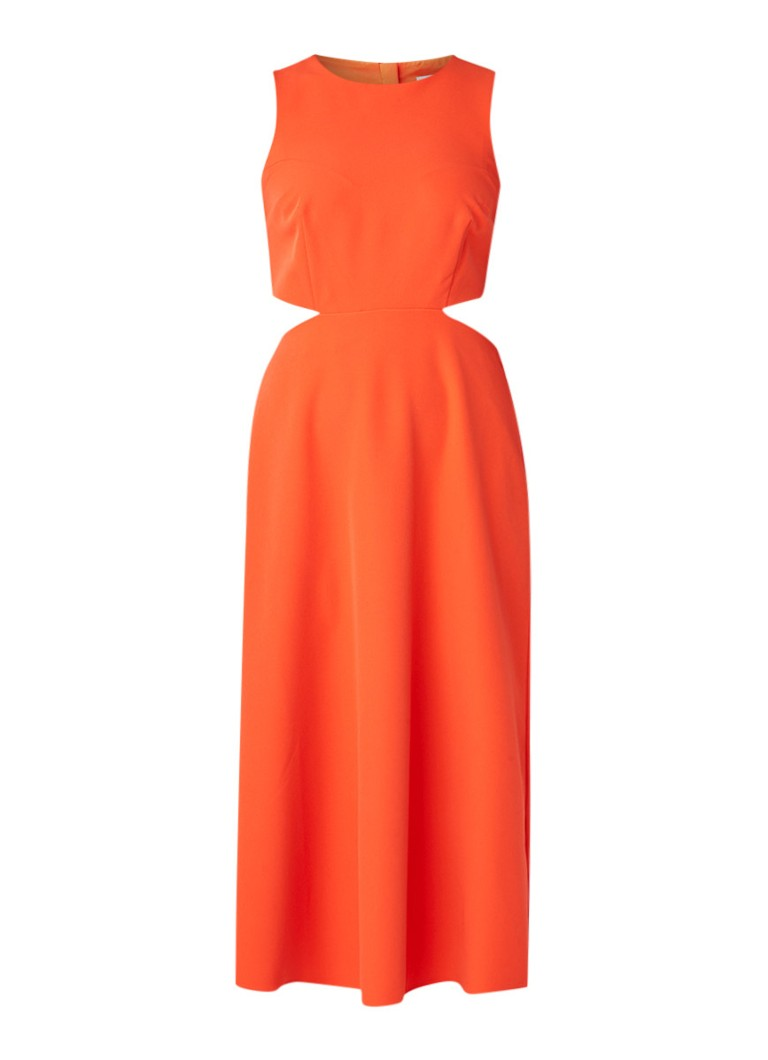 Warehouse Mouwloze midi-jurk met cut-out koraal