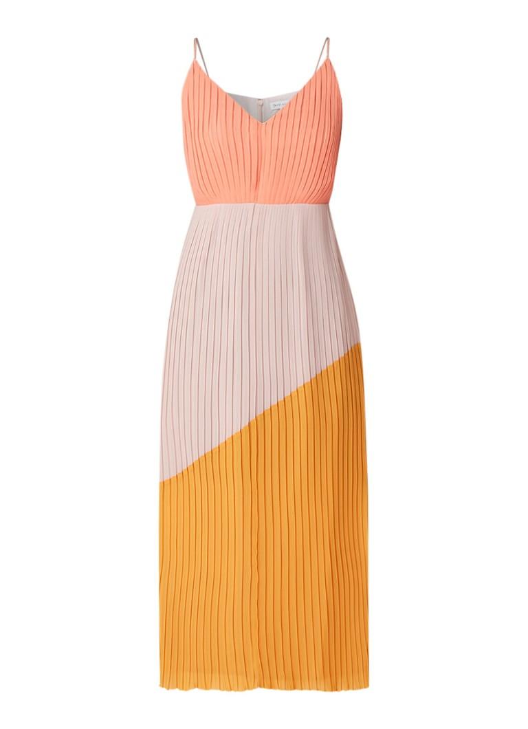 Warehouse Midi-jurk met plissé en colour block multicolor