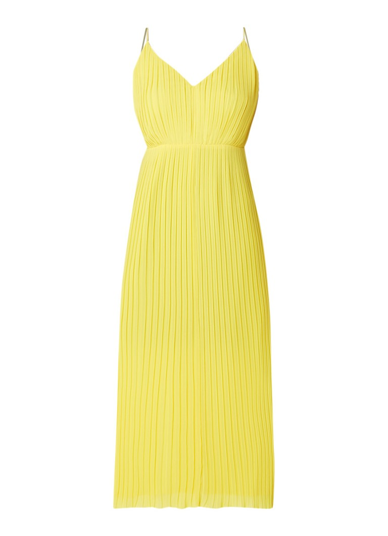 Warehouse Midi-jurk met plissé en V-hals geel