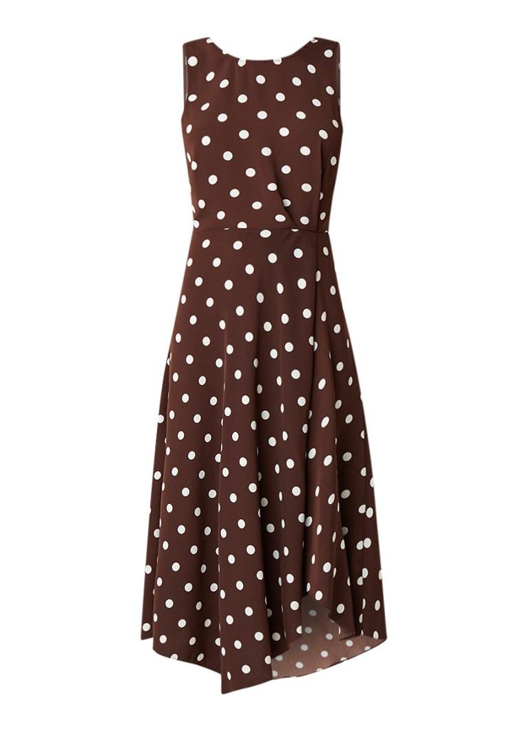 Warehouse Midi-jurk met stippendessin en rugdecolleté donkerbruin