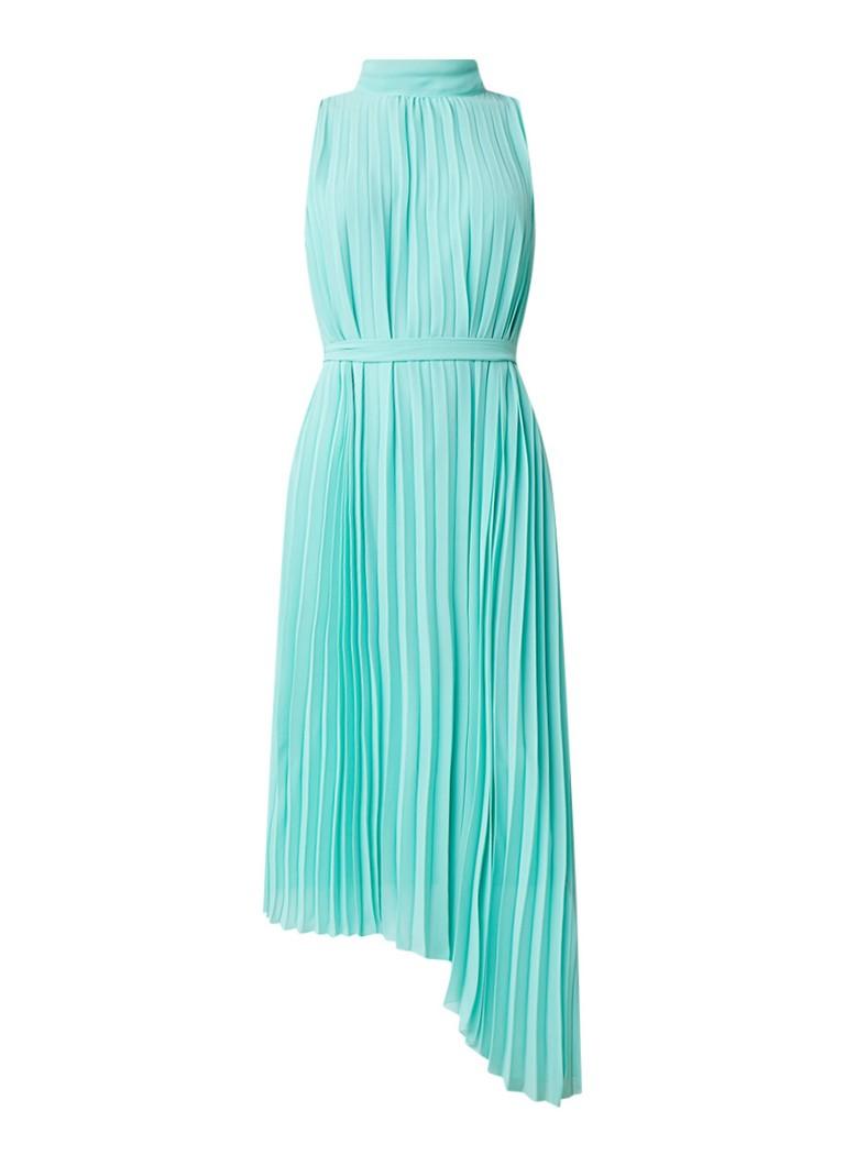 Warehouse Asymmetrische jurk met plissé en strikceintuur mint