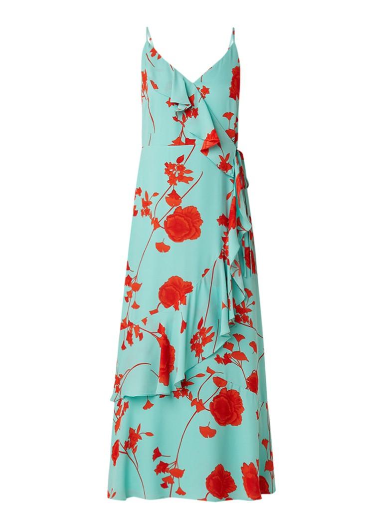 Warehouse Maxi-jurk met bloemendessin en volant mint