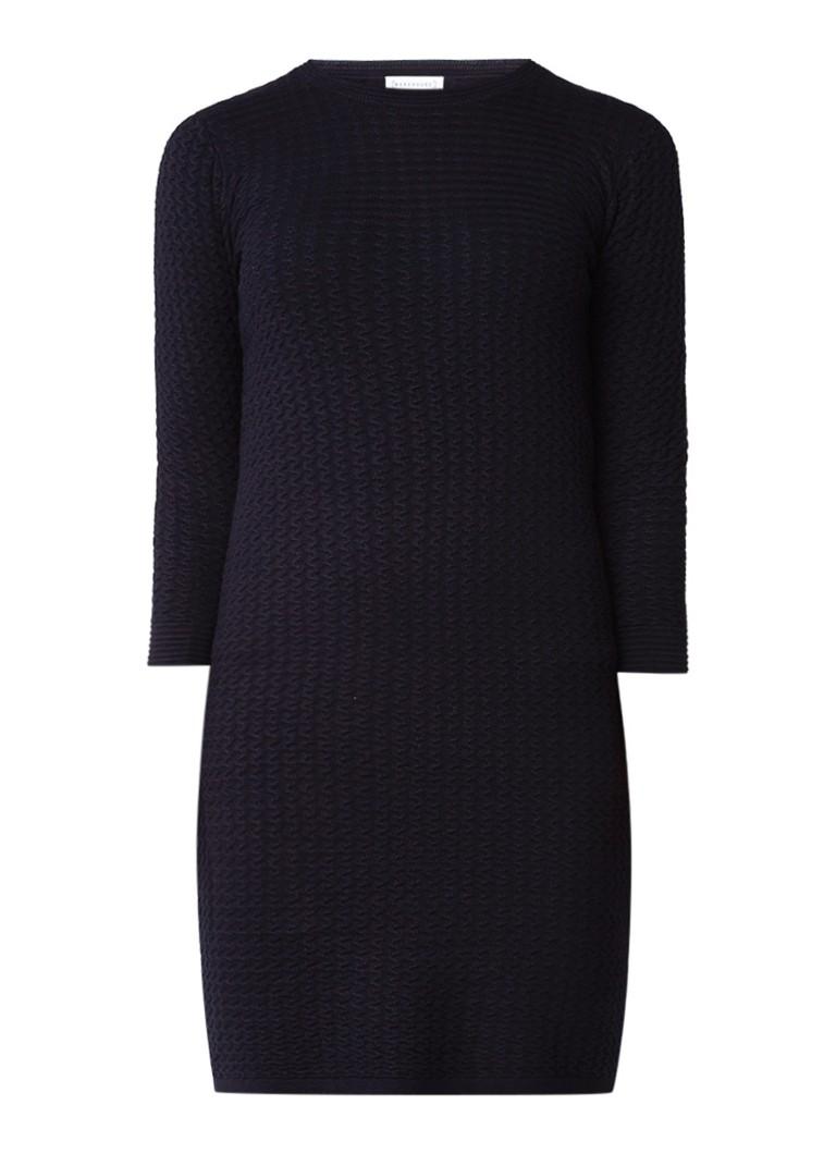 Warehouse Fijngebreide midi-jurk met driekwartsmouw en structuur donkerblauw