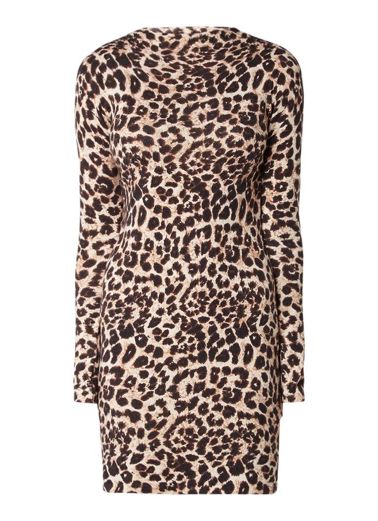 Warehouse Jersey mini-jurk met luipaarddessin beige