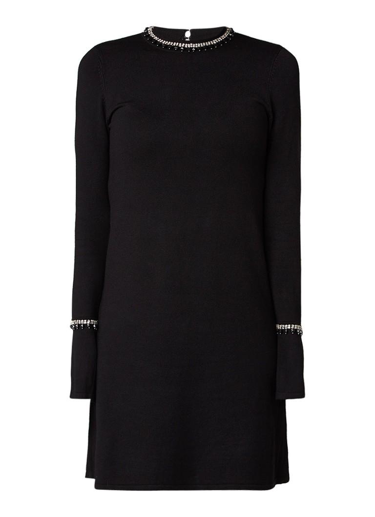 Warehouse Fijngebreide A-lijn jurk met strass-decoratie diepzwart