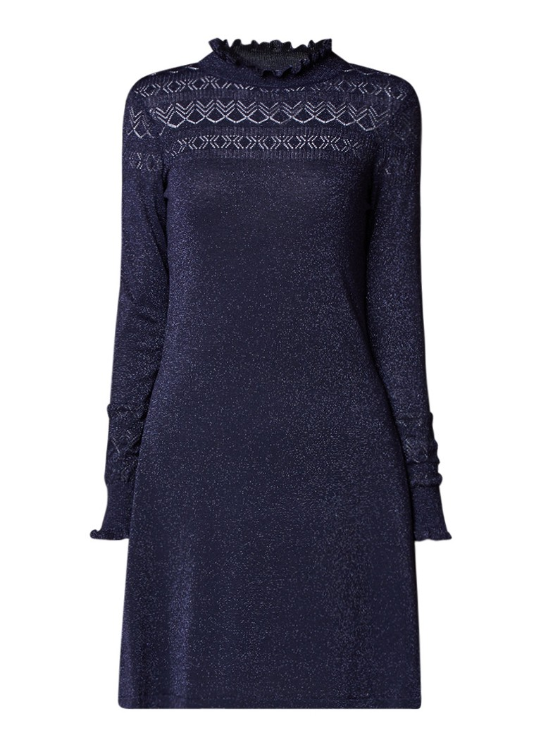 Warehouse Pointelle gebreide A-lijn jurk met glansdraad donkerblauw