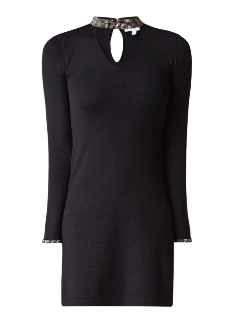 Warehouse A-lijn jurk met strass boord zwart