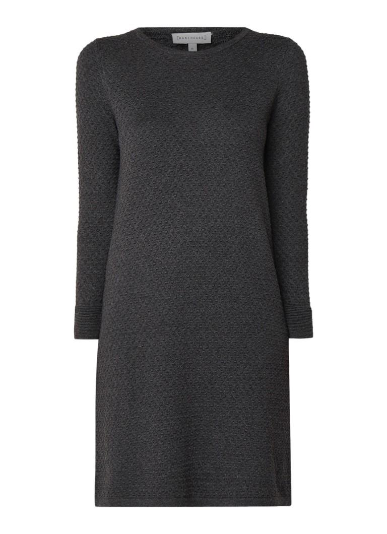 Warehouse Trui-jurk in katoenblend met ingebreide structuur donkergrijs