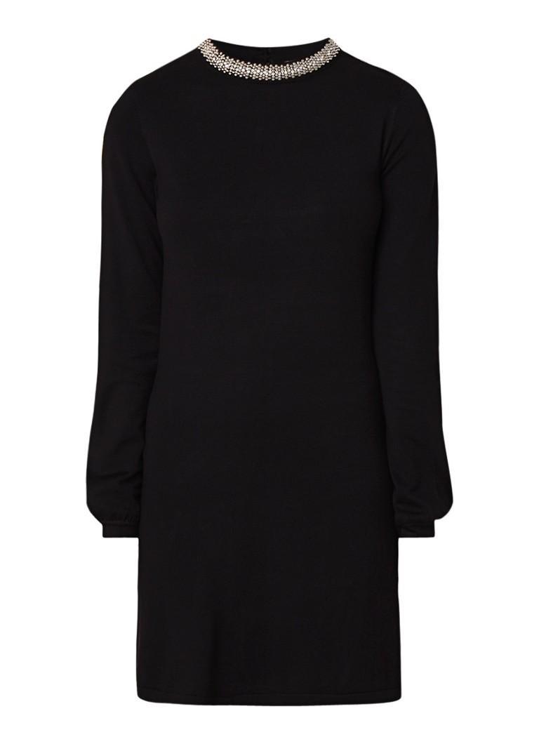 Warehouse Fijngebreide mini-jurk met strass-decoratie diepzwart