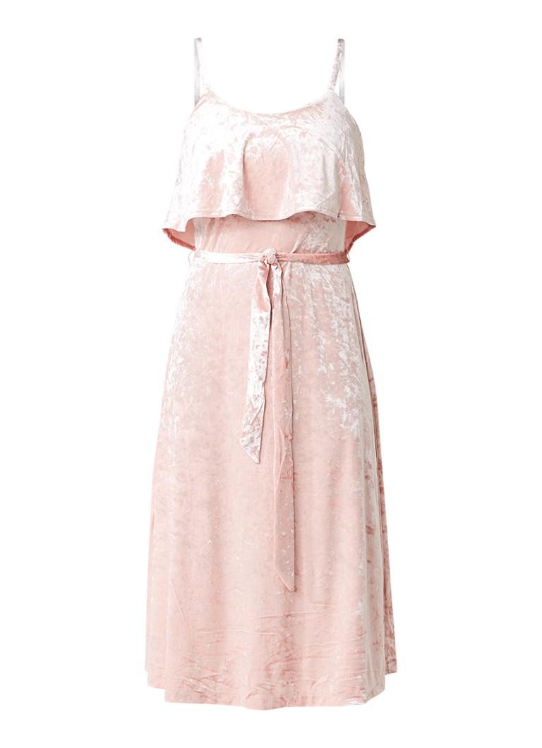 Warehouse Cami jurk van fluweel met volant lichtroze