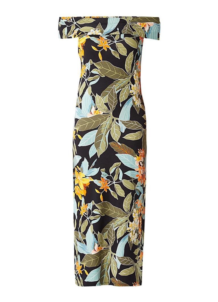Warehouse Bardot off shoulder midi-jurk met botanisch dessin groen