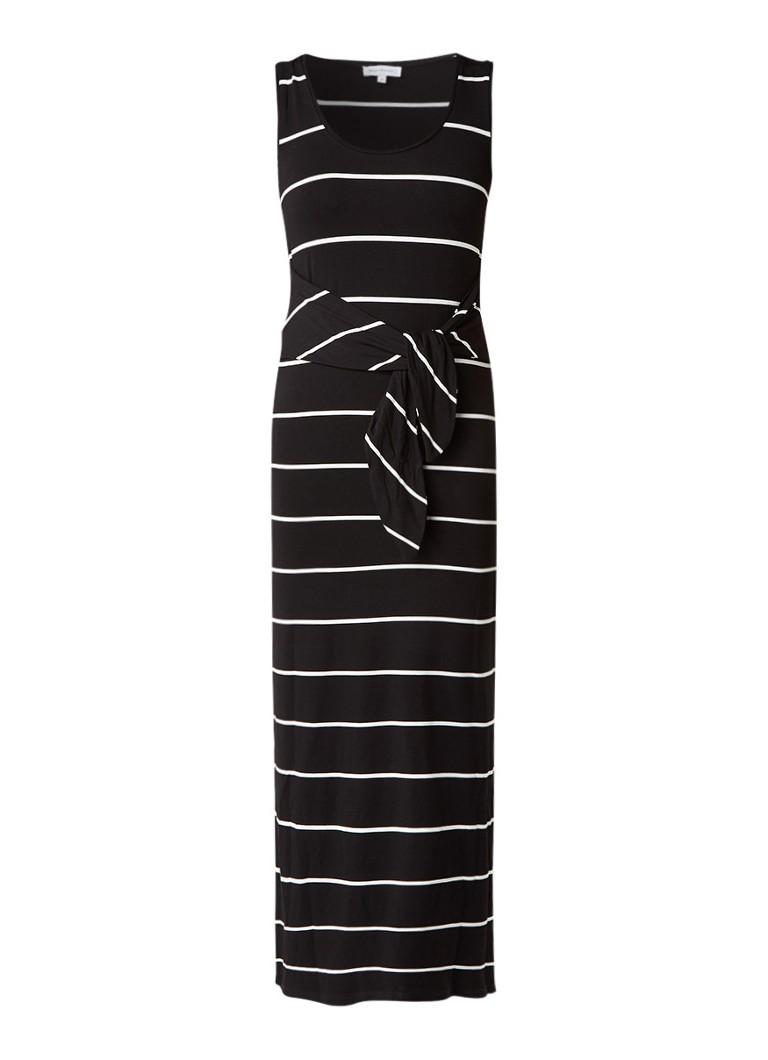 Warehouse Gestreepte maxi-jurk met knoopdetail zwart