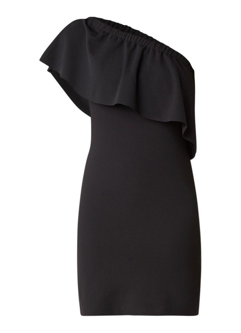 Warehouse One shoulder crêpe mini-jurk met volant zwart