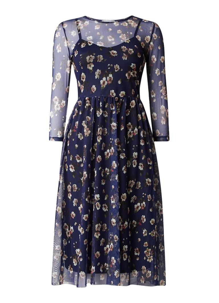 Warehouse A-lijn jurk van mesh met bloemdessin donkerblauw