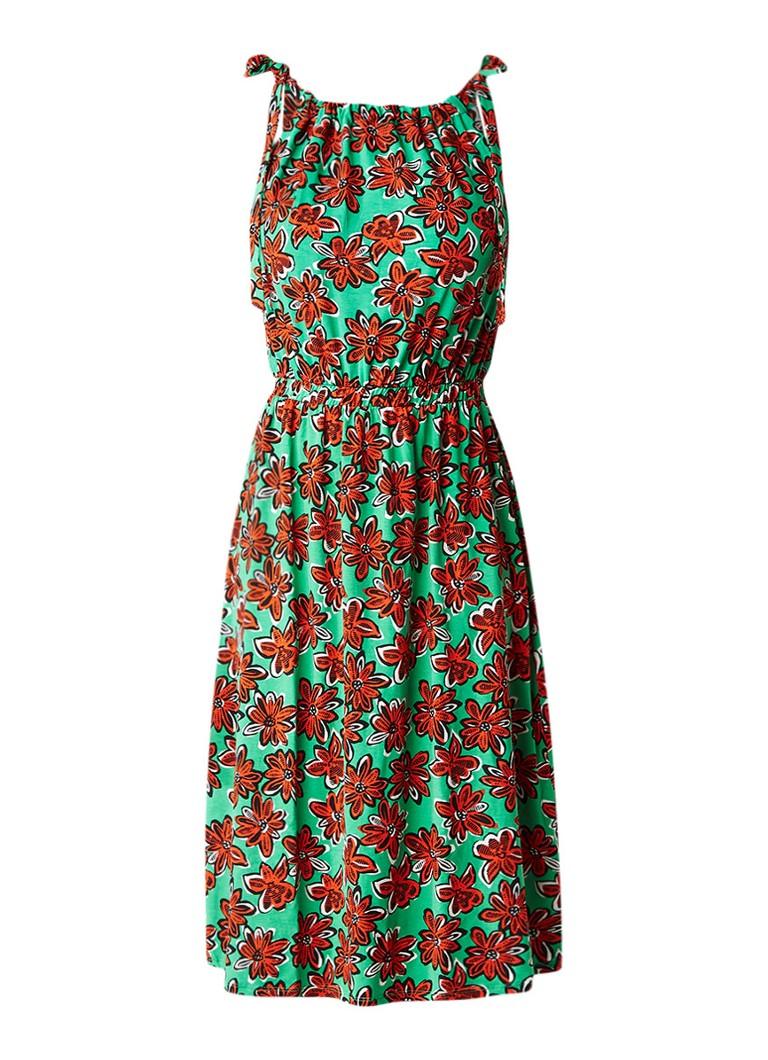 Warehouse Daisy midi-jurk met gesmockte tailleband groen