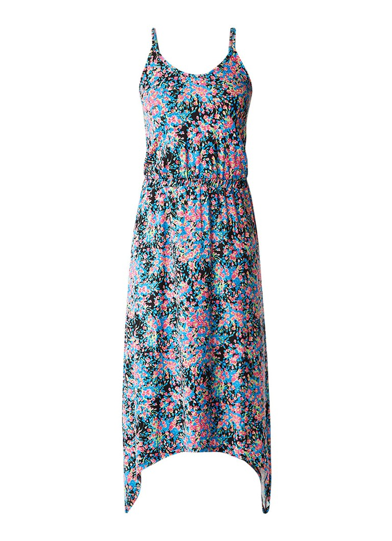 Warehouse Hanky maxi-jurk met bloemendessin lichtblauw