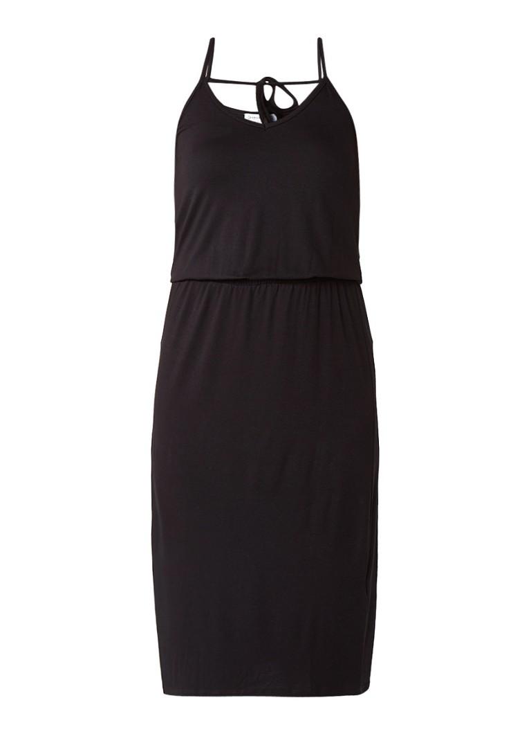 Warehouse Midi-jurk met elastische tailleband en spaghettiebandjes diepzwart