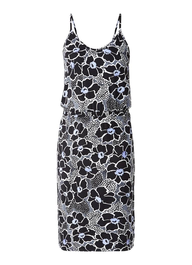 Warehouse Woodblock cami midi-jurk met bloemendessin zwart