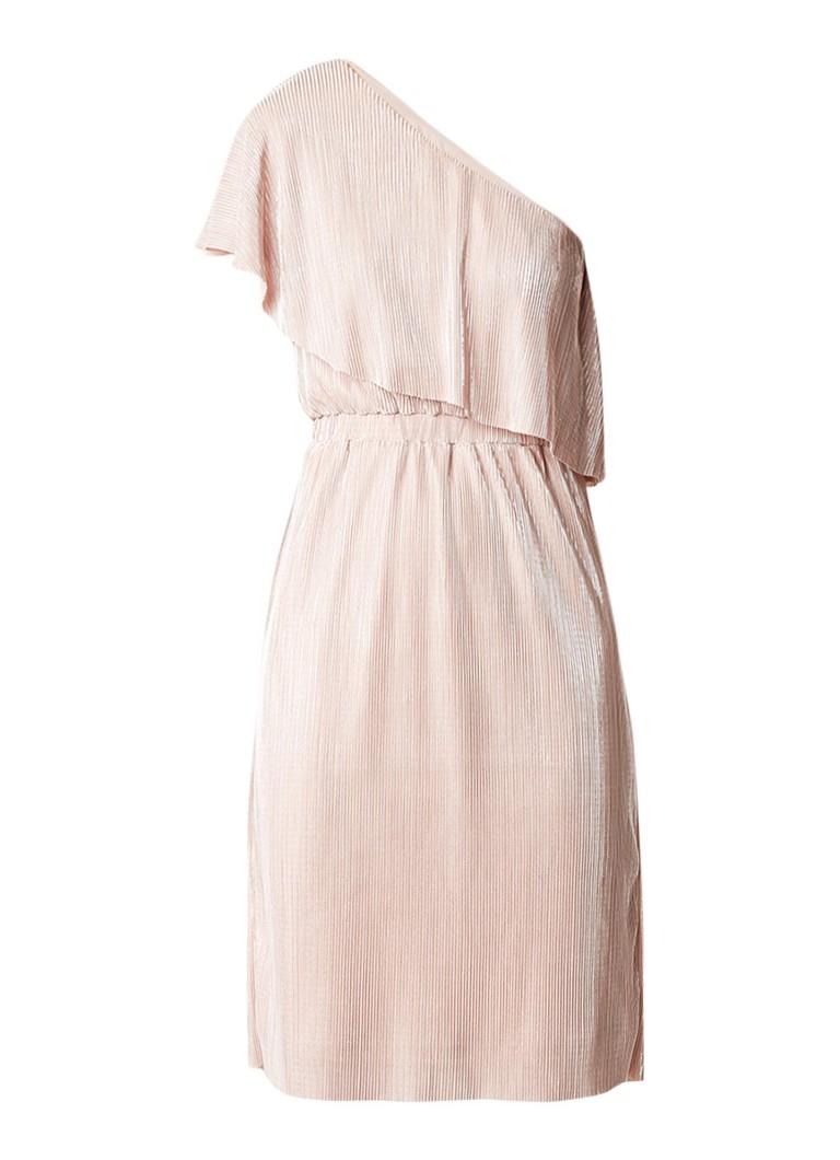 Warehouse Metallic one shoulder jurk met plissé oudroze