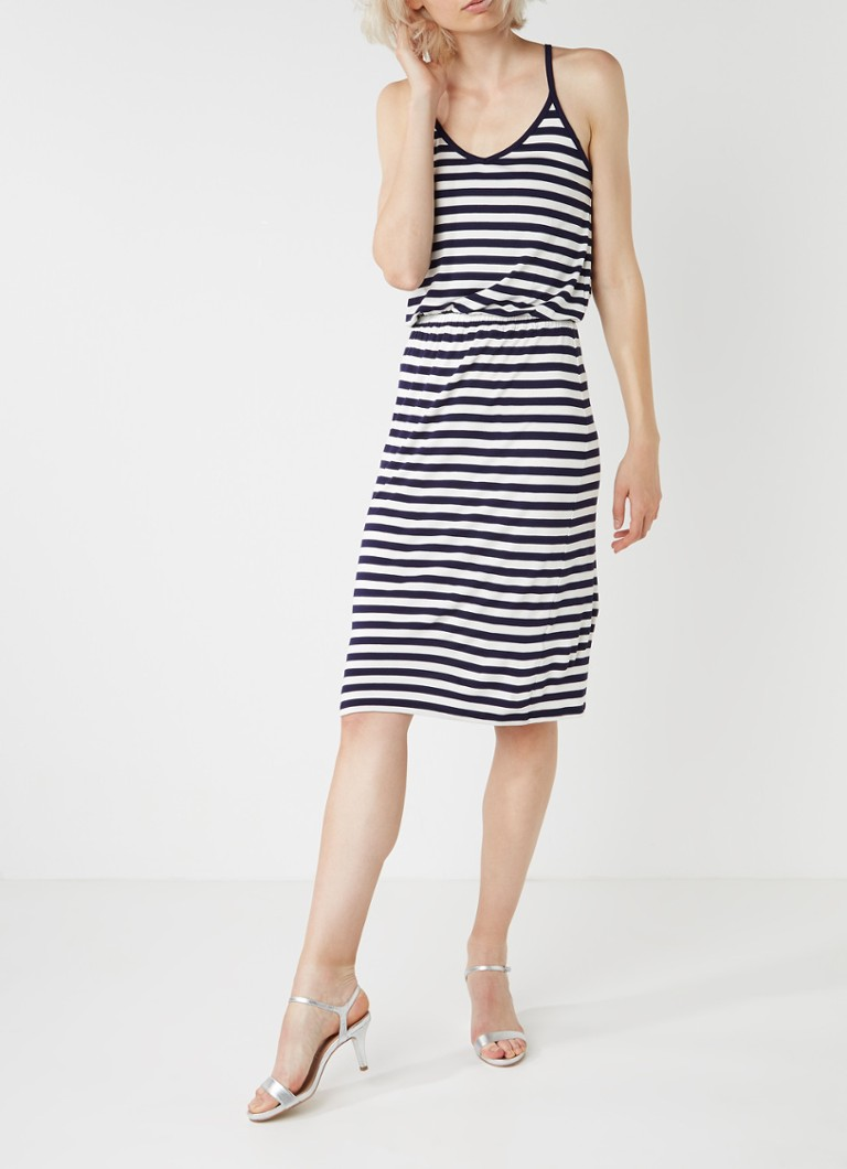 Warehouse Jersey cami jurk met streepdessin donkerblauw