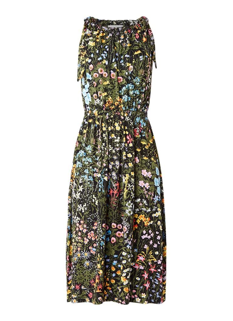 Warehouse Midi-jurk met knoopdetail en bloemendessin zwart
