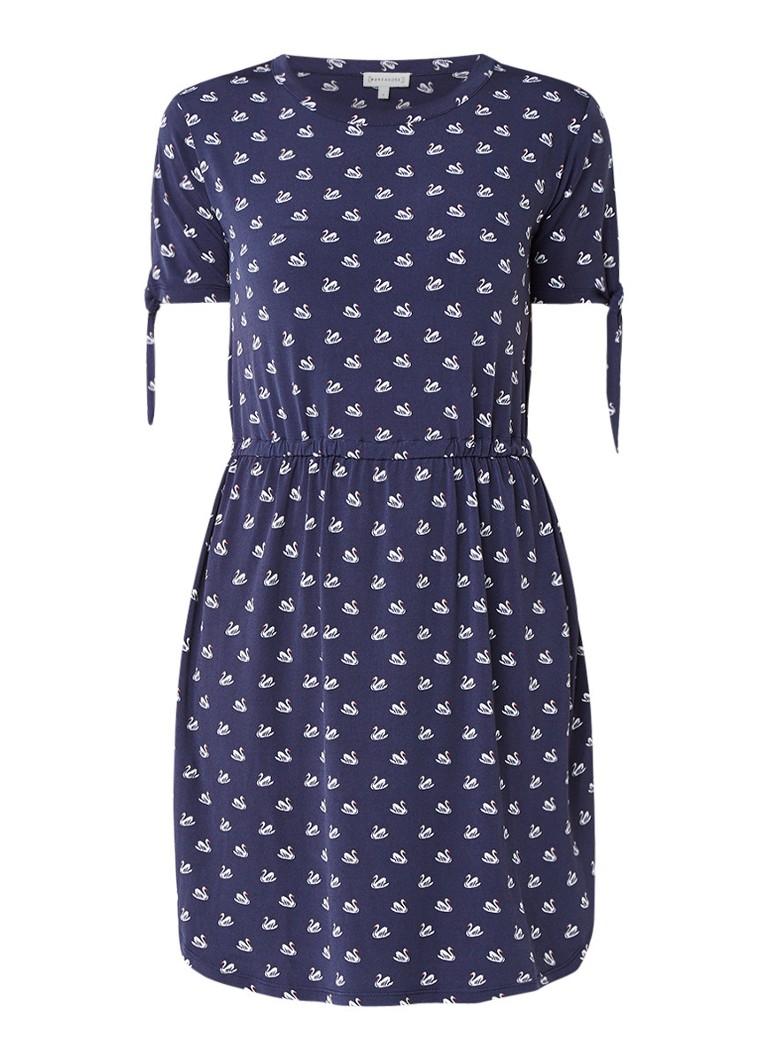 Warehouse Jersey jurk met zwanenprint staalblauw