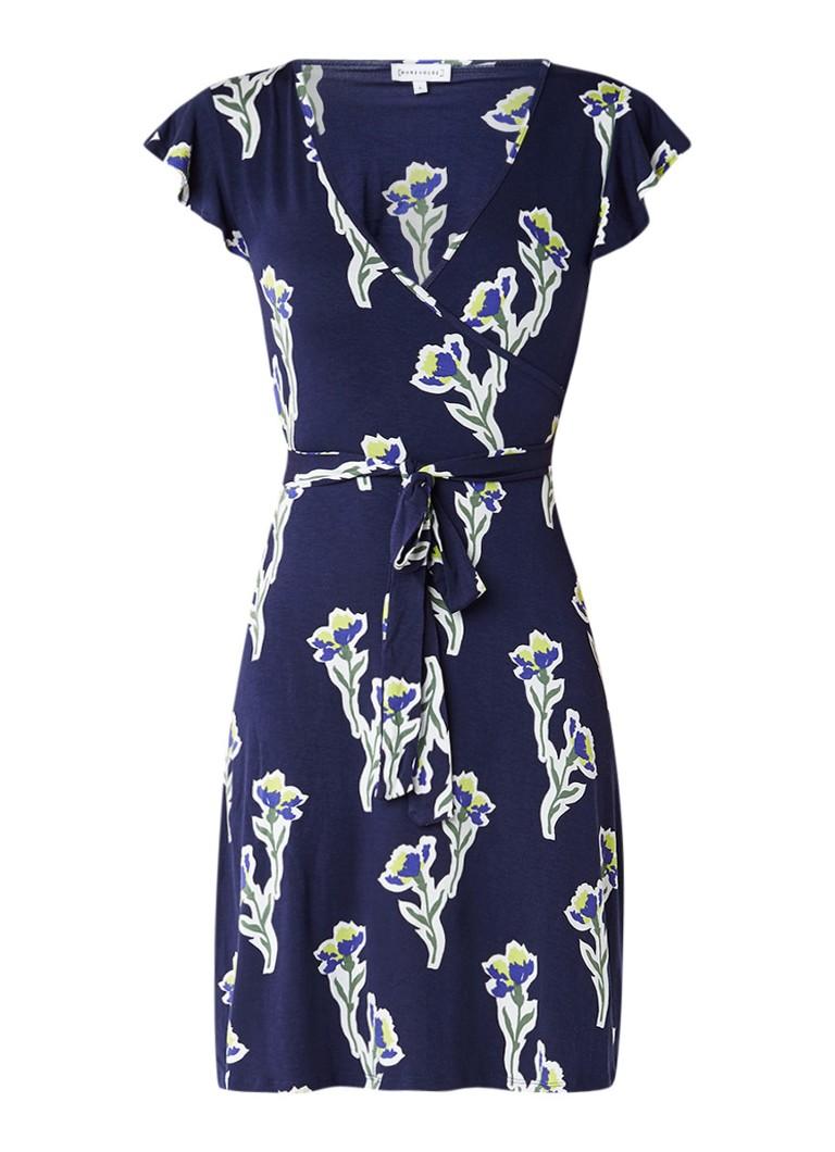 Warehouse Iris wikkeljurk met bloemendessin en strikceintuur middenblauw