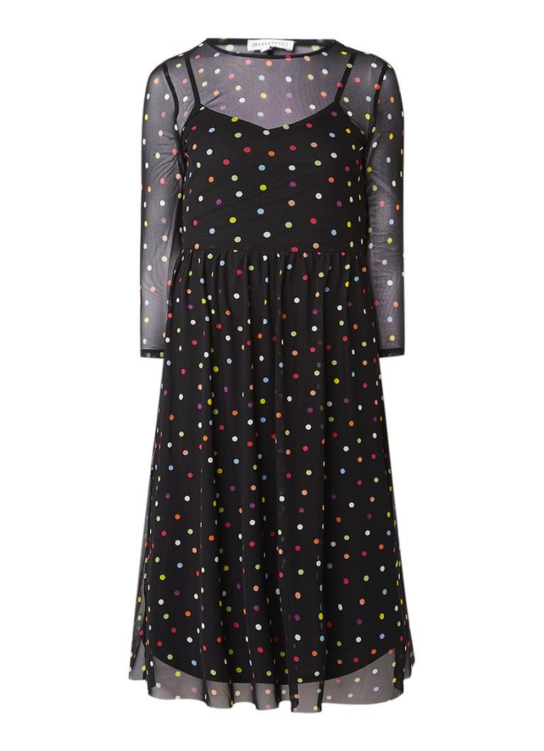 Jurken Warehouse Mesh midi jurk met gestipt dessin en onderjurk Zwart