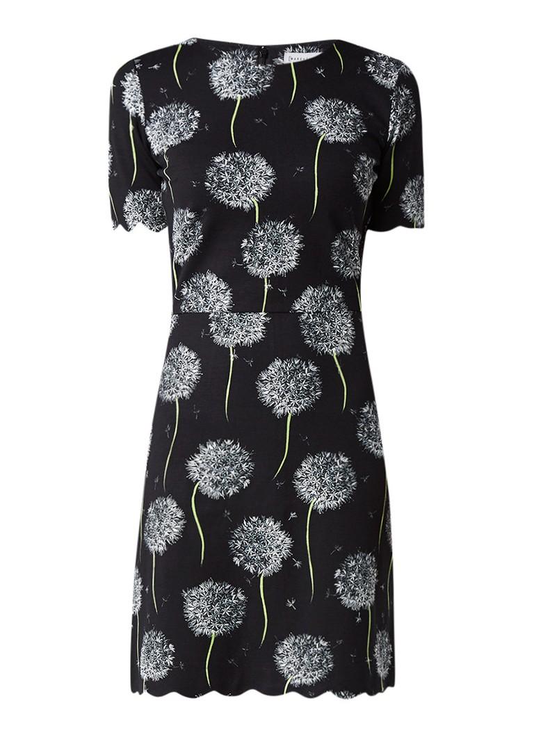 Warehouse Dandelion jurk met bloemendessin en geschulpte zoom zwart