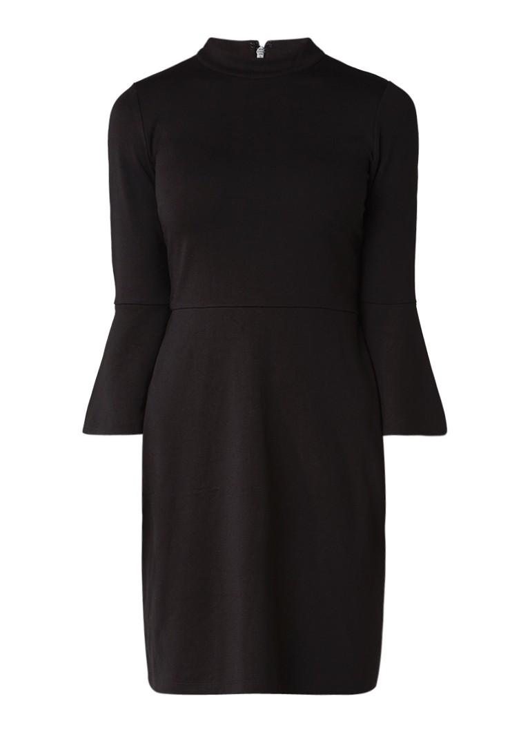 Warehouse Jersey A-lijn jurk met trompetmouw diepzwart