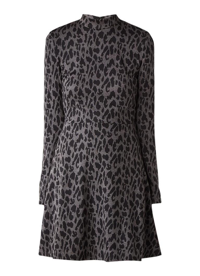 Warehouse A-lijn jurk met luipaarddessin grijs