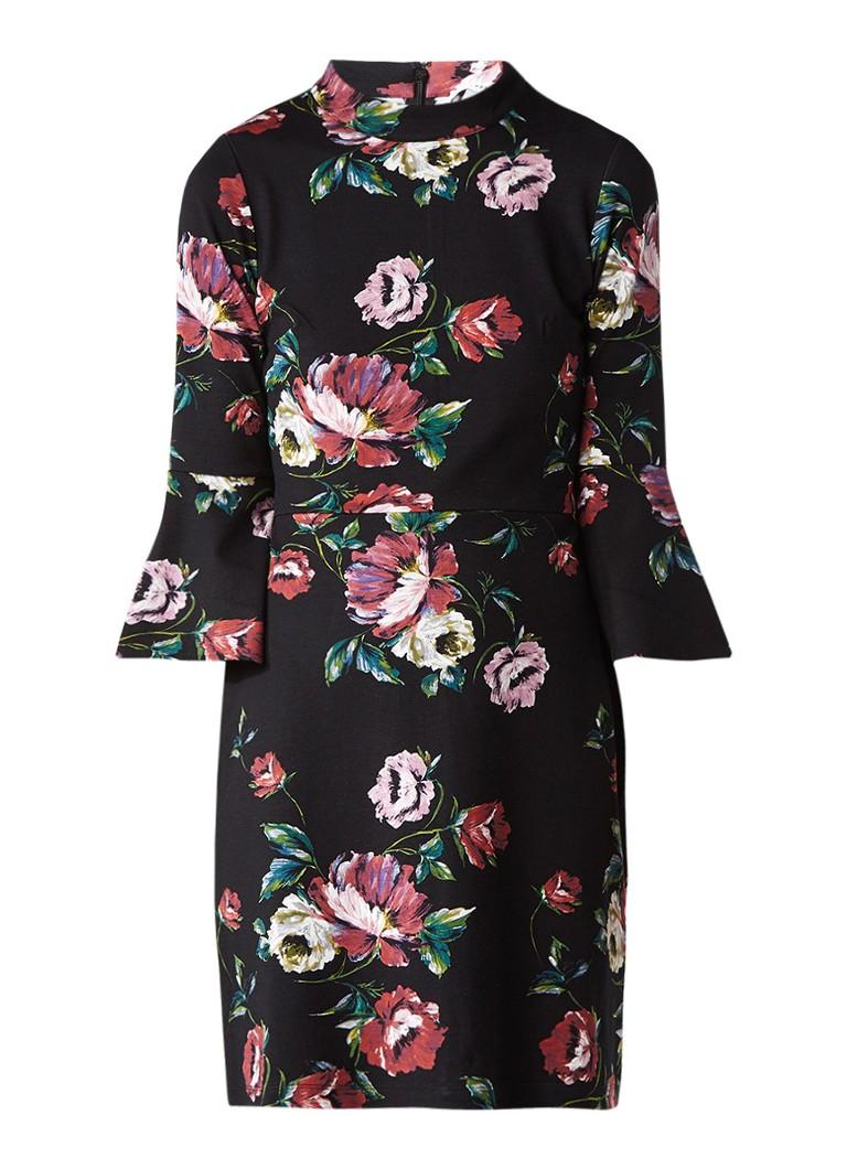 Warehouse A-lijn jurk met klokkende mouw en bloemendessin zwart