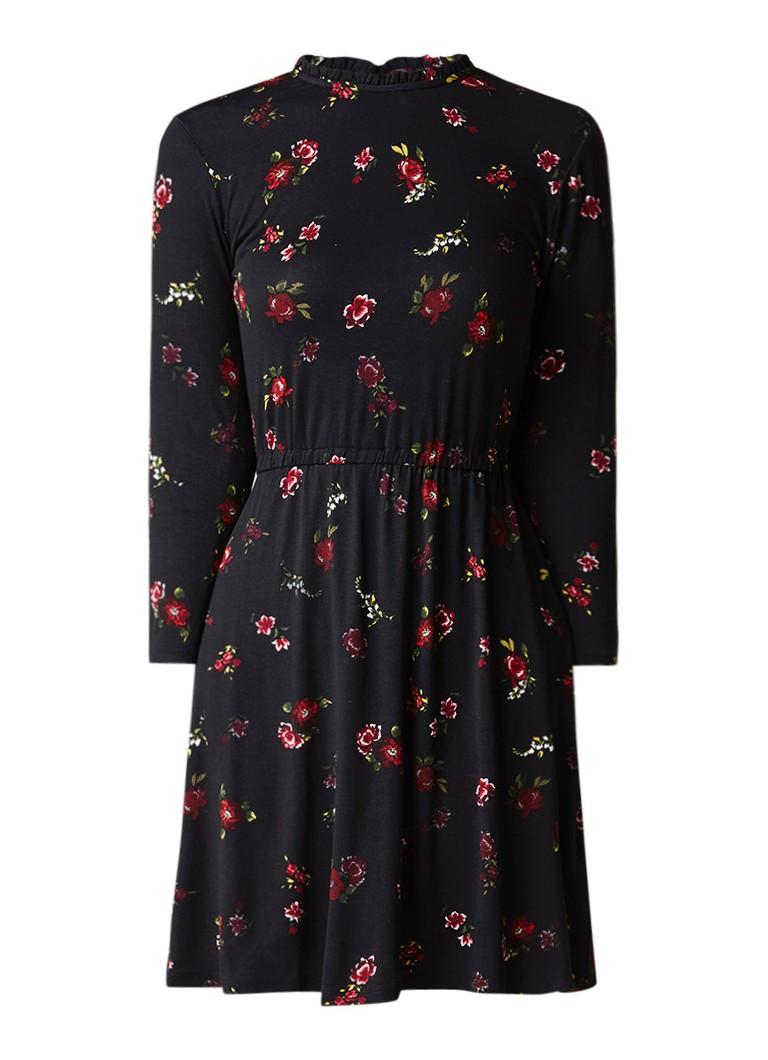 Warehouse A-lijn jurk van jersey met gebloemd dessin zwart