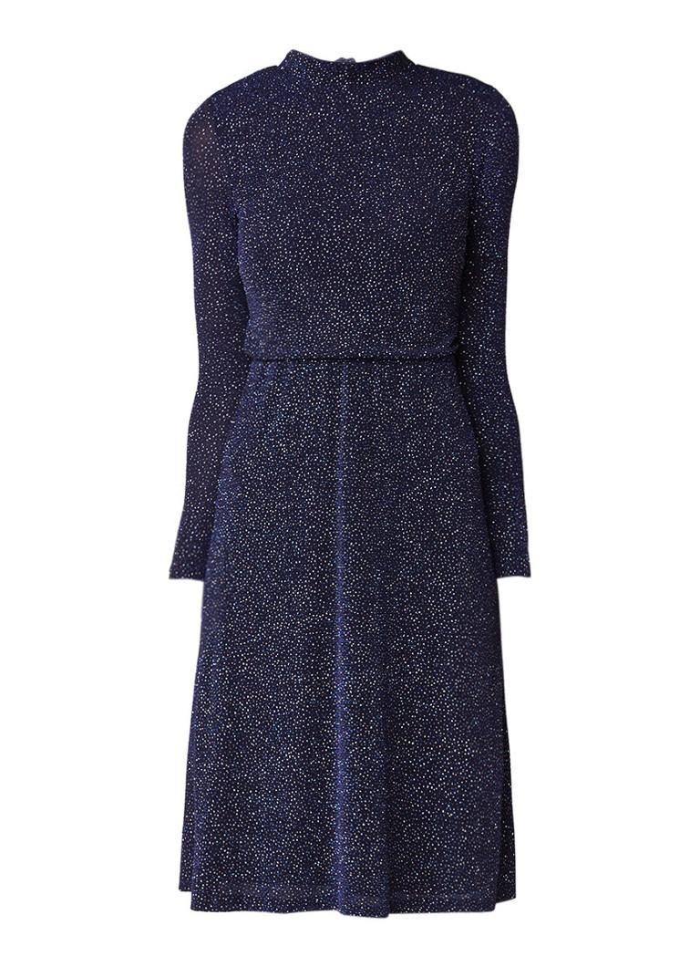 Warehouse Crystal Glitter midi-jurk met rugdecolleté donkerblauw